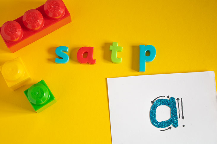 Week 1 of learning phonics with Letters and Sound the letters S A T and P. Hands-on Activities to support your child as they learn to read
