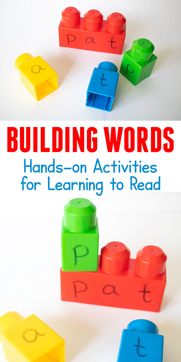 Simple hands-on activity for learning to read 2 and 3 letter words using building blocks from the toy collection.