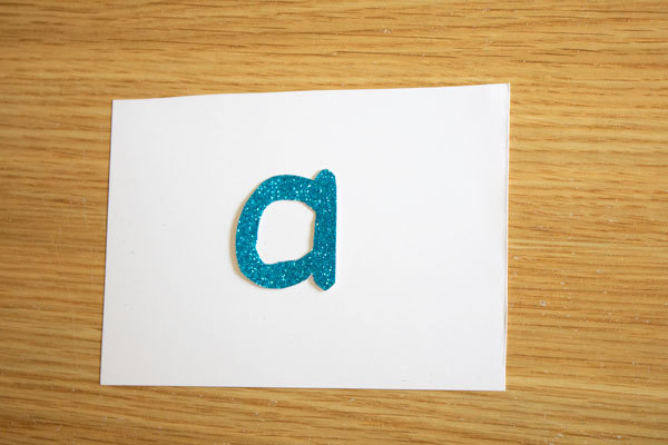 Homemade letter cards to learn how to write letters correctly using finger tracing method