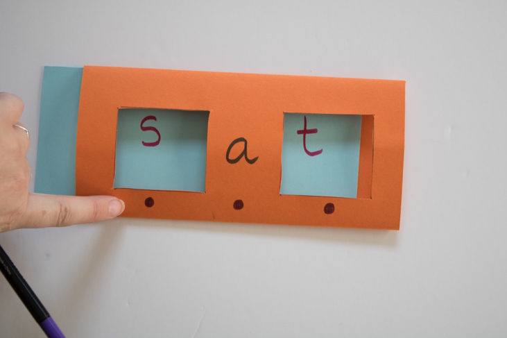 DIY Sliding Word Cards to help your child learn to read by blending letter sounds together