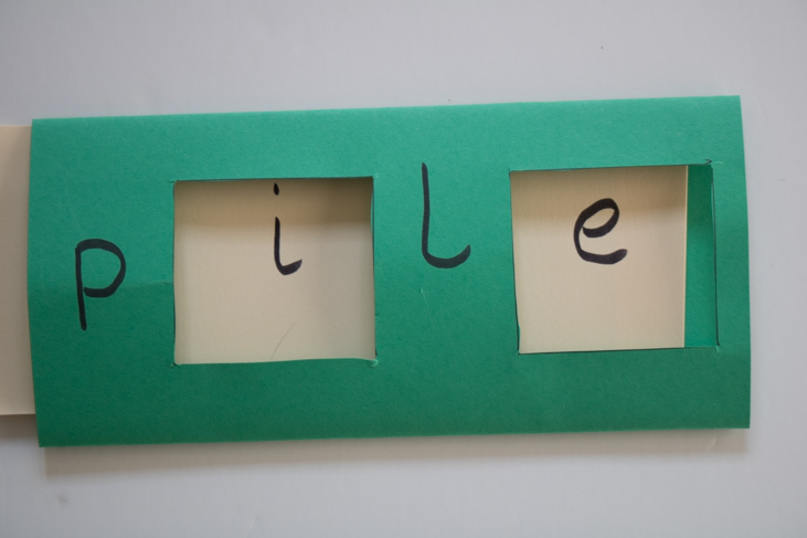 "Magic ""e"" sliding word card example to make to support your child learn to read"