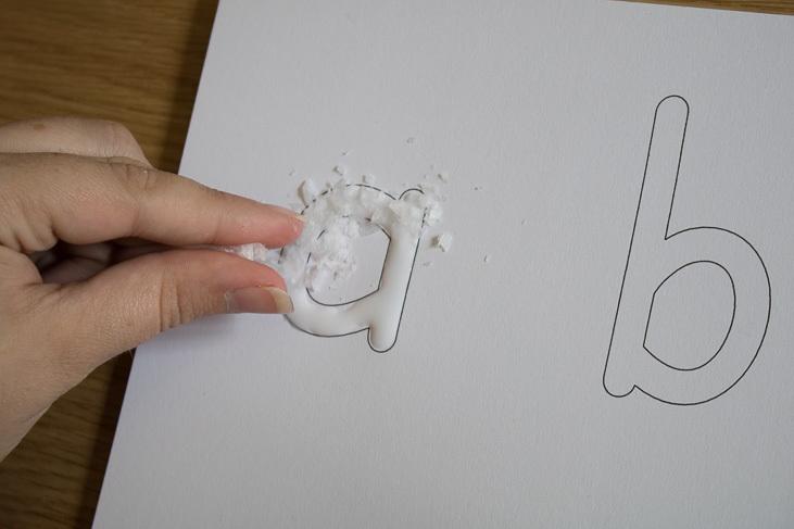 rock salt sensory letters to make at home