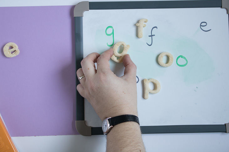 matching letters for children learning to read using DIY salt dough letters
