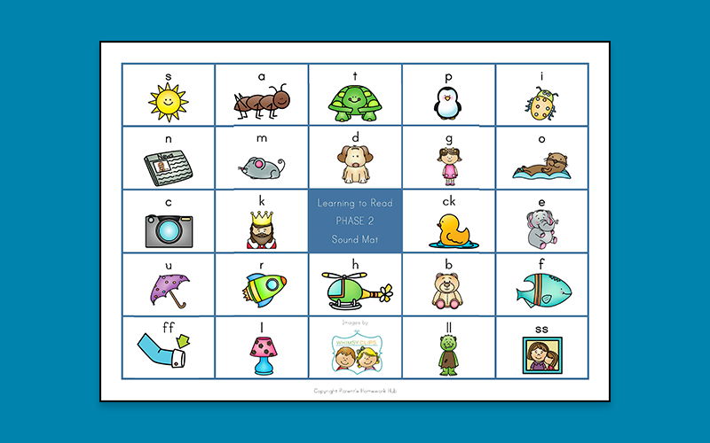 Phase 2 Sound Mat for learning to read with phonics from Parent's Homework Hub