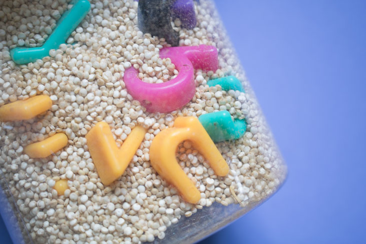 Playing with your sensory alphabet bottle game