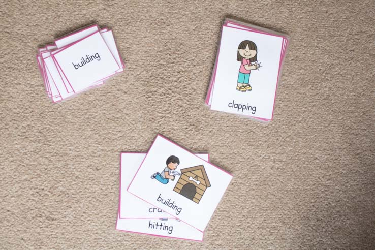 using the verb picture and word pack from Parent's Homework Hub to work on verbs and learning to read