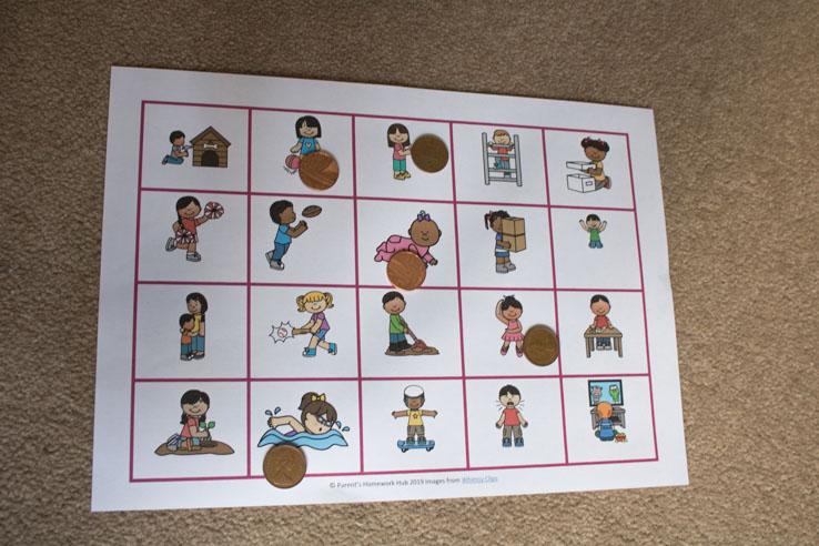 Making up stories using the verb word cards and picture pack from Parent's Homework Hub
