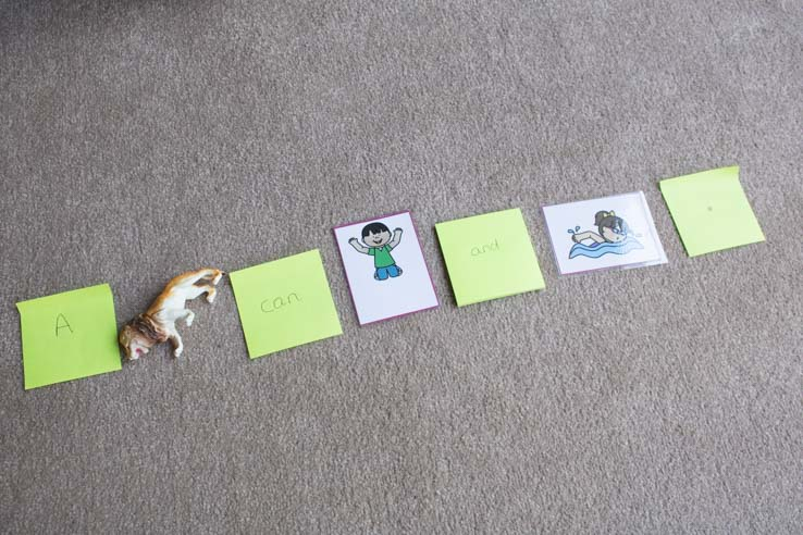 learning to read using picture and object replacement in this hands-on learning activity for kids