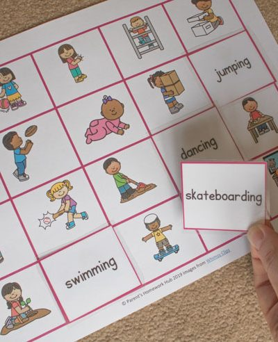Verb Word and Picture cards a resource for games to play with your child as they learn to read