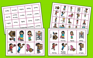 Verb word cards and picture pack from Parent's Homework Hub