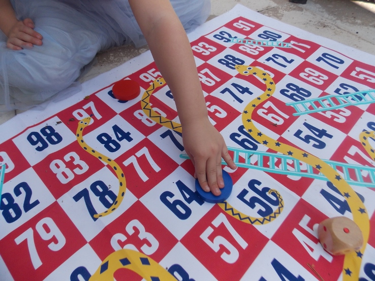 giant snakes and ladders for times table practise